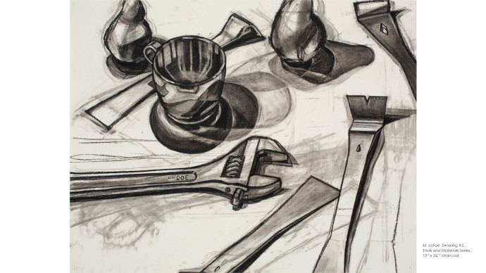 Series 1: About Looking / Tools and Materials Series, charcoal on BFK paper, copyright Michelle LaFoe.