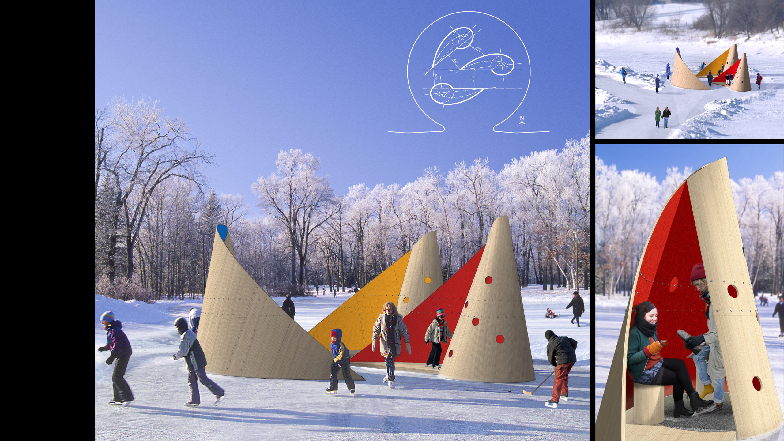 """Red, Yellow, Blue:"" Winnipeg Canada International Design Competition / image 1"